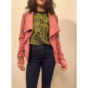 Dusty pink lightweight open coat.